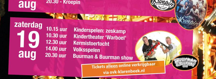 Check hier het volledige programma Klarenbeekse Kermis 2017!